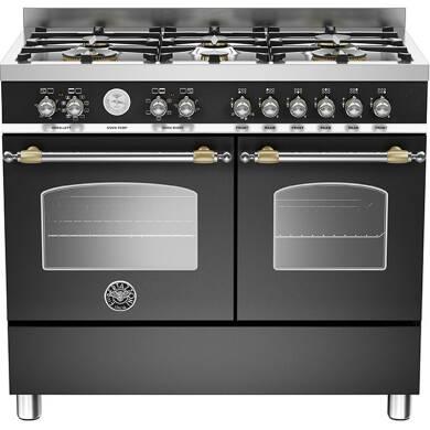 Bertazzoni Heritage 90cm Dual Fuel 6 Burner Range Cooker (2 Ovens) - Matt Black (Nero)