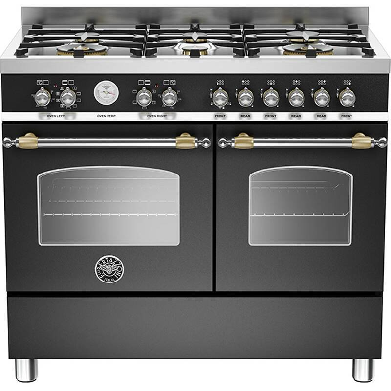 Bertazzoni Heritage 90cm Dual Fuel 6 Burner Range Cooker (2 Ovens) - Matt Black (Nero) primary image