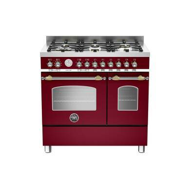 Bertazzoni Heritage 90cm Dual Fuel 6 Burner Range Cooker (2 Ovens) - Matt Burgundy (Vino)