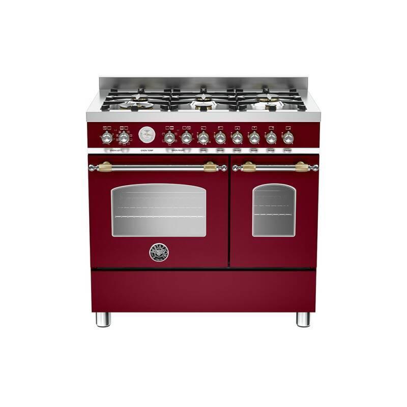 Bertazzoni Heritage 90cm Dual Fuel 6 Burner Range Cooker (2 Ovens) - Matt Burgundy (Vino) primary image