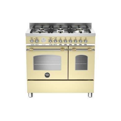 Bertazzoni Heritage 90cm Dual Fuel 6 Burner Range Cooker (2 Ovens) - Matt Cream (Crema)