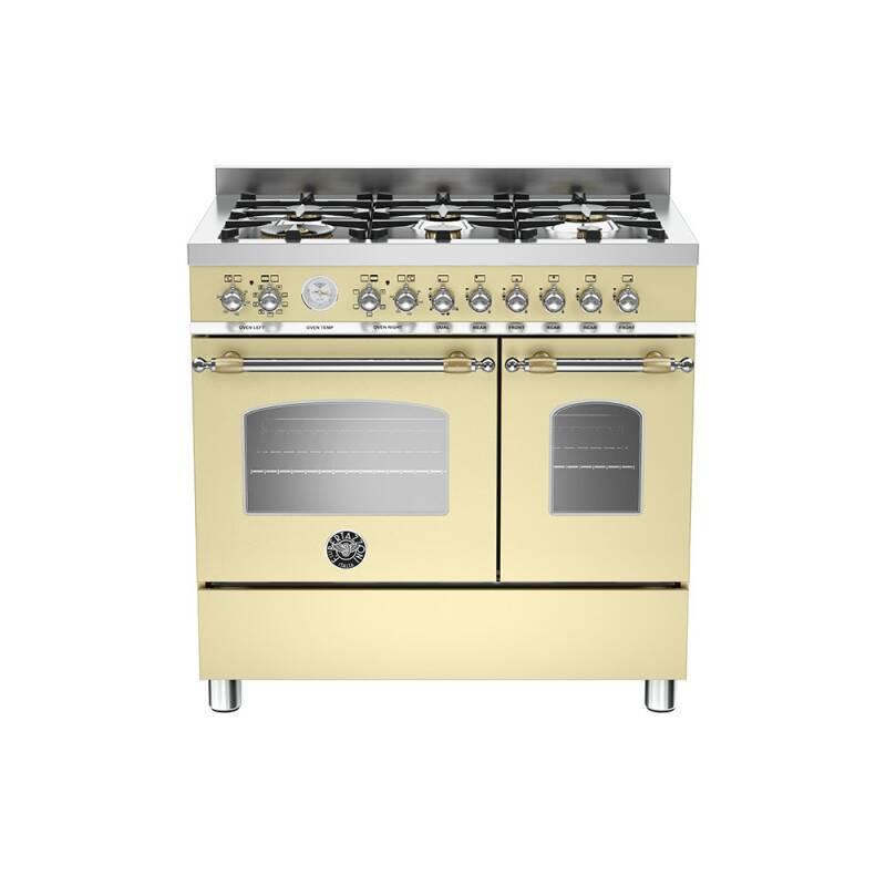 Bertazzoni Heritage 90cm Dual Fuel 6 Burner Range Cooker (2 Ovens) - Matt Cream (Crema) primary image