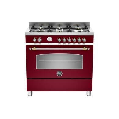 Bertazzoni Heritage 90cm Dual Fuel 6 Burner Range Cooker - Matt Burgundy (Vino)