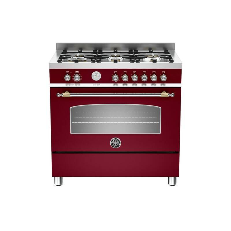 Bertazzoni Heritage 90cm Dual Fuel 6 Burner Range Cooker - Matt Burgundy (Vino) primary image