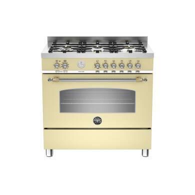 Bertazzoni Heritage 90cm Dual Fuel 6 Burner Range Cooker - Matt Cream (Crema)