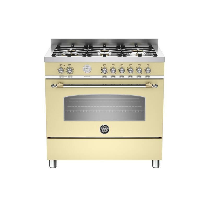 Bertazzoni Heritage 90cm Dual Fuel 6 Burner Range Cooker - Matt Cream (Crema) primary image