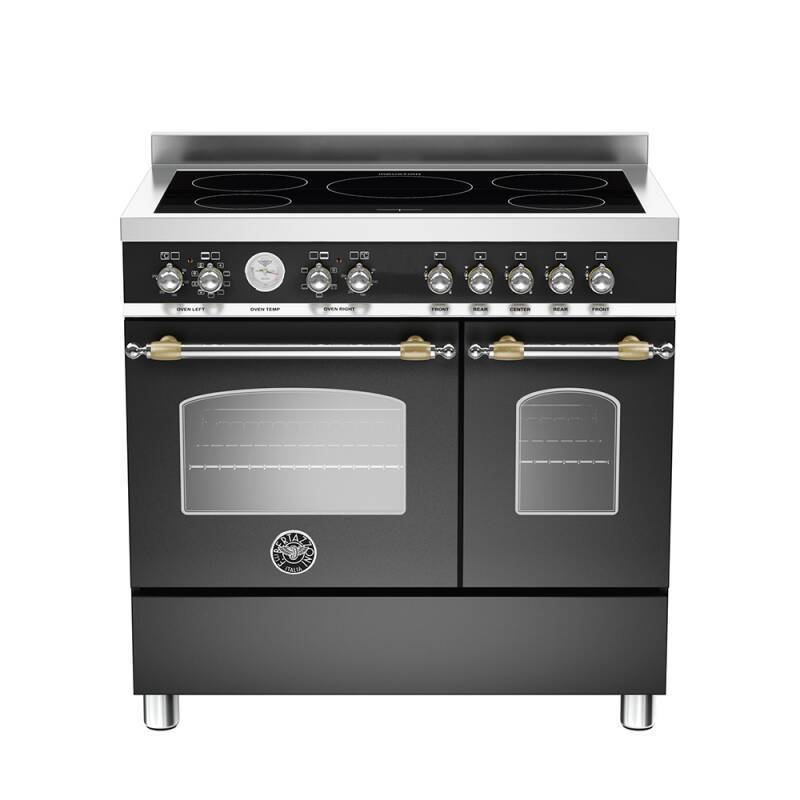 Bertazzoni Heritage 90cm Induction 5 Zone Range Cooker (2 Ovens) - Matt Black (Nero) primary image
