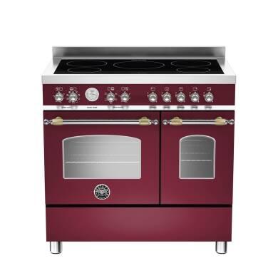 Bertazzoni Heritage 90cm Induction 5 Zone Range Cooker (2 Ovens) - Matt Burgundy (Vino)