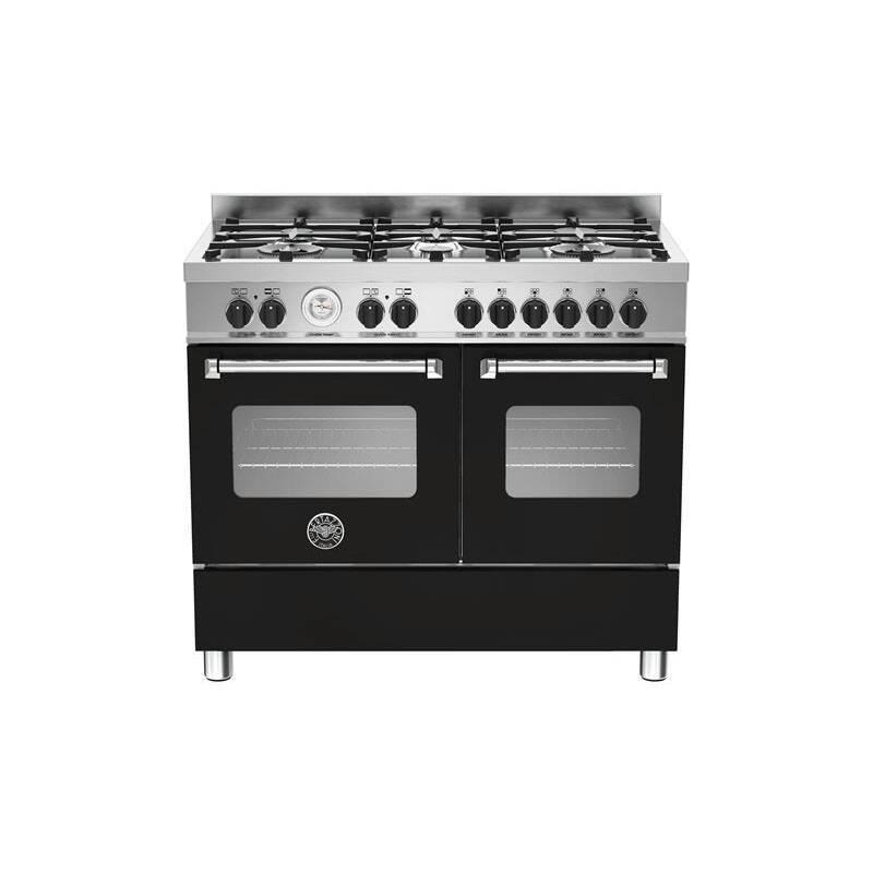 Bertazzoni Master 100cm Dual Fuel 6 Burner Range Cooker (2 Ovens) - Matt Black (Nero) primary image
