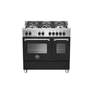 Bertazzoni Master 90cm Dual Fuel 5 Burner Range Cooker (2 Ovens) - Matt Black (Nero)