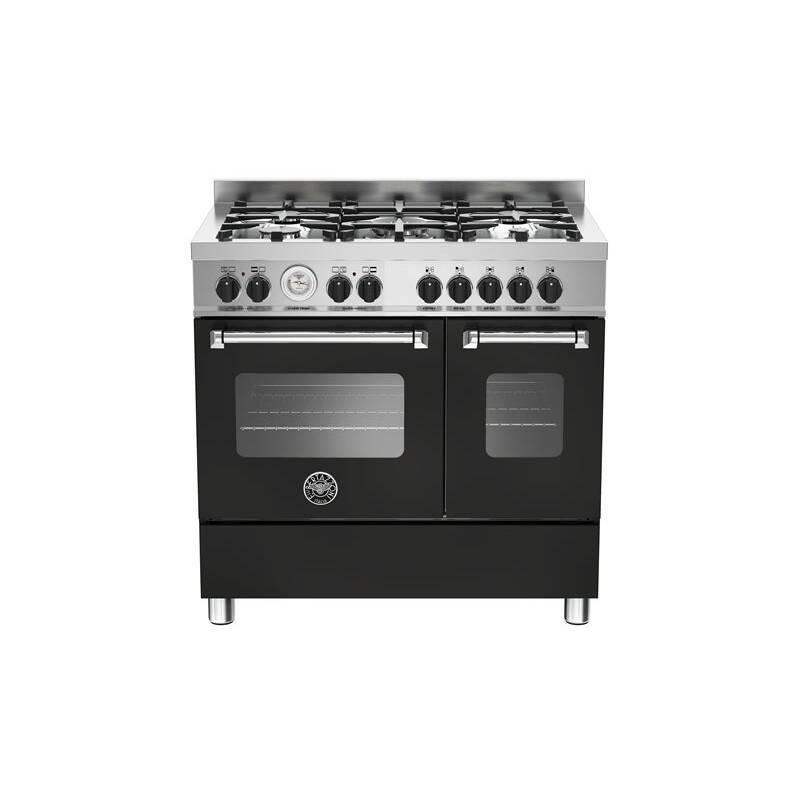 Bertazzoni Master 90cm Dual Fuel 5 Burner Range Cooker (2 Ovens) - Matt Black (Nero) primary image