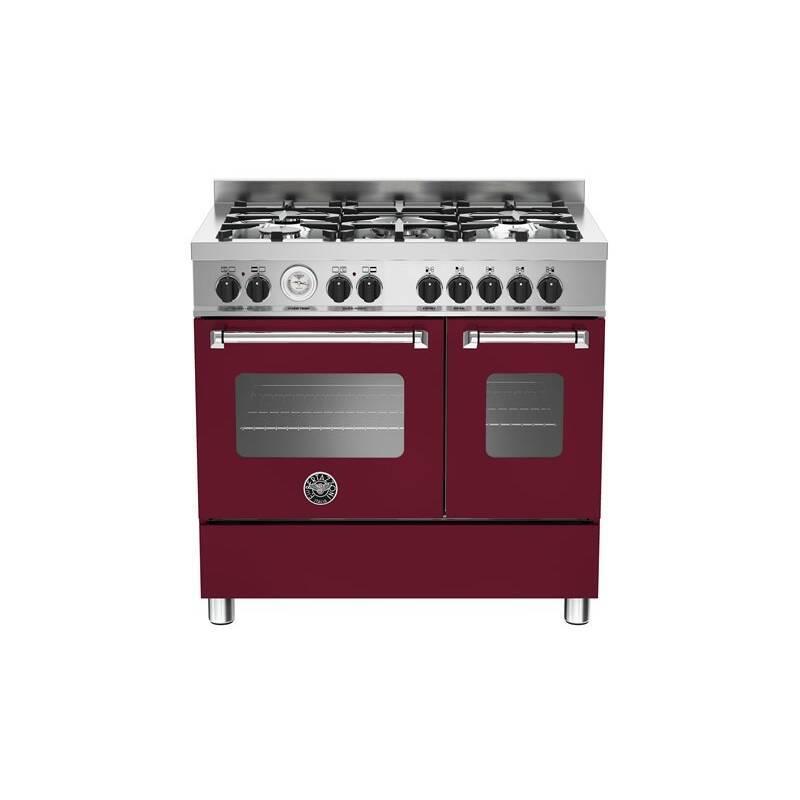 Bertazzoni Master 90cm Dual Fuel 5 Burner Range Cooker (2 Ovens) - Matt Burgundy (Vino) primary image
