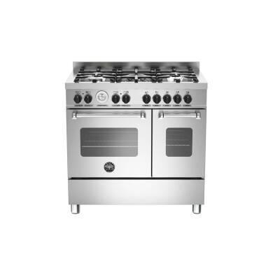 Bertazzoni Master 90cm Dual Fuel 5 Burner Range Cooker (2 Ovens) - Stainless Steel