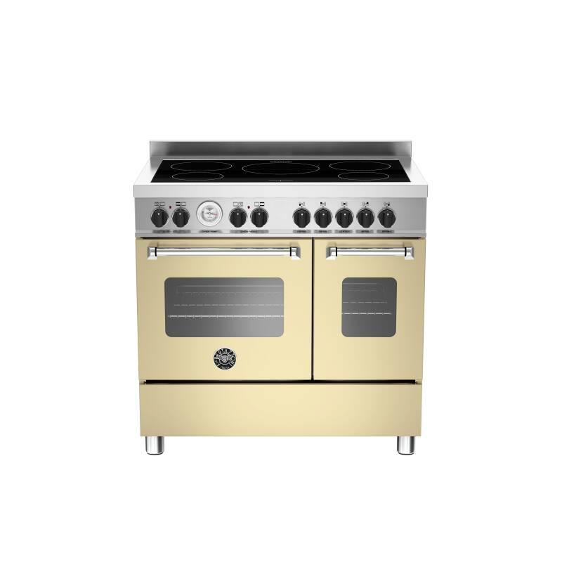 Bertazzoni Master 90cm Induction 5 Zone Range Cooker (2 Ovens) - Matt Cream (Crema) primary image