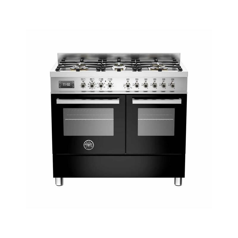 Bertazzoni Professional 100cm Dual Fuel 6 Burner Range Cooker (2 Ovens) - Gloss Black (Nero) primary image