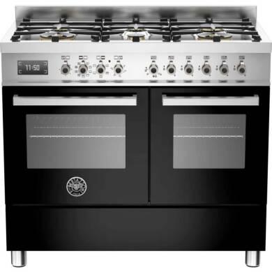 Bertazzoni Professional 100cm Dual Fuel 6 Burner Range Cooker (2 Ovens) - Gloss Black (Nero)