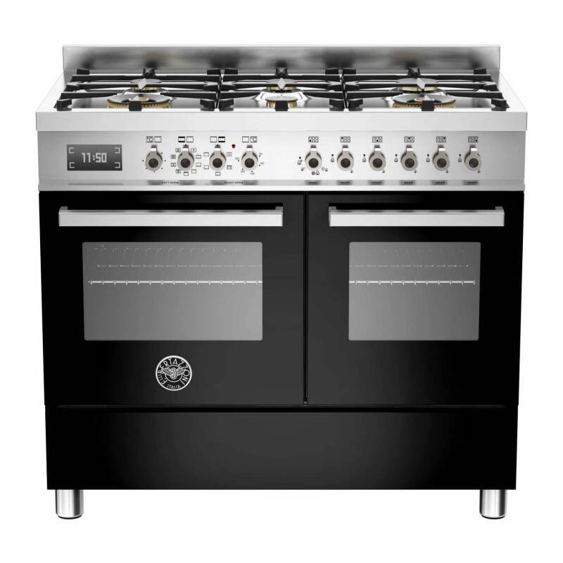 Bertazzoni Professional 100cm Dual Fuel 6 Burner Range Cooker (2 Ovens) - Gloss Black (Nero) additional image 1