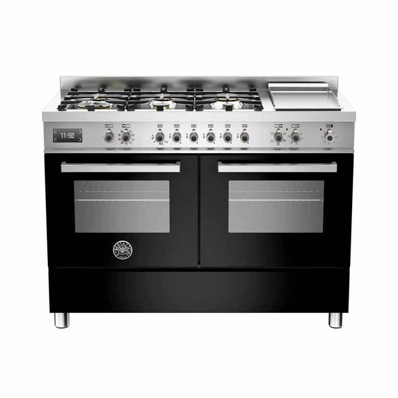 Bertazzoni Professional 120cm Dual Fuel 6 Burner Range Cooker (2 Ovens) - Gloss Black (Nero) primary image