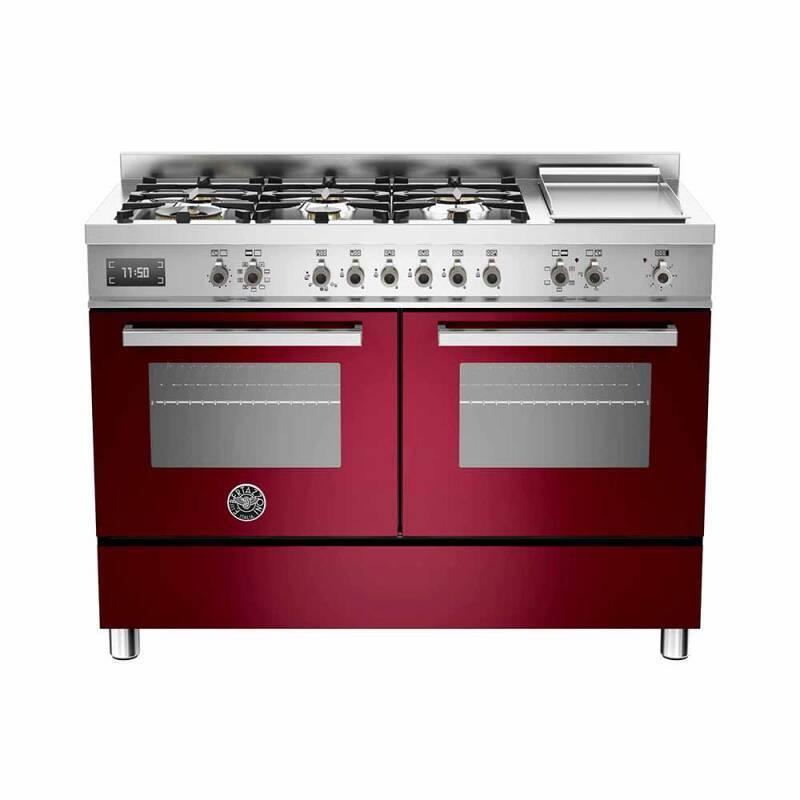 Bertazzoni Professional 120cm Dual Fuel 6 Burner Range Cooker (2 Ovens) - Gloss Burgundy (Vino) primary image