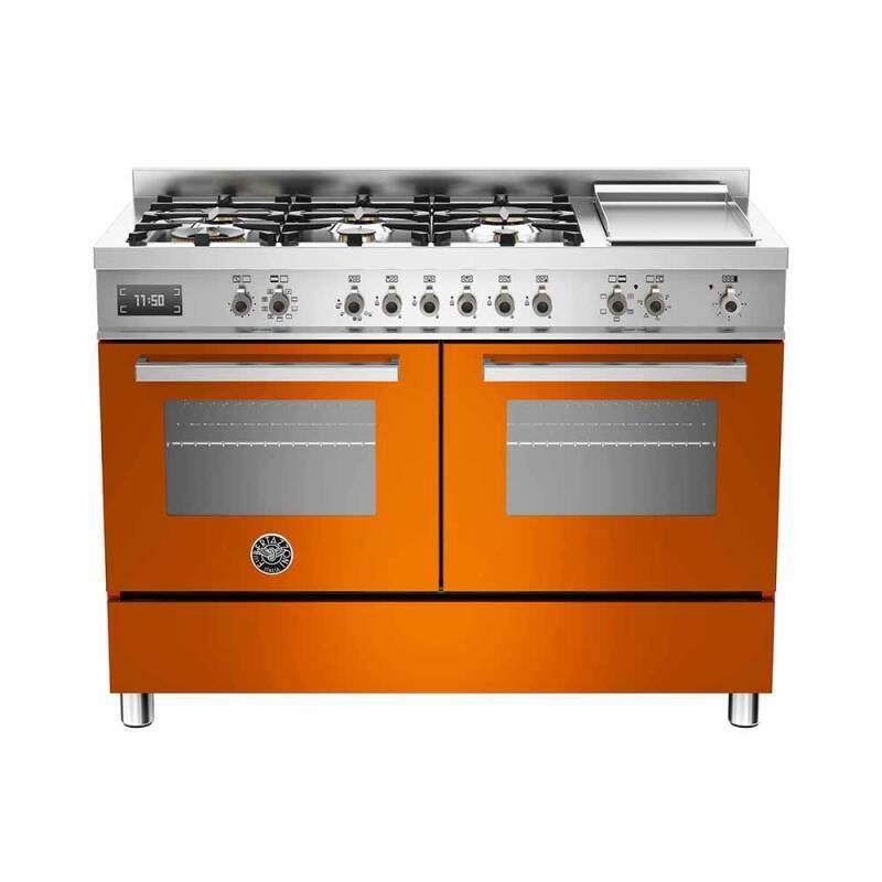 Bertazzoni Professional 120cm Dual Fuel 6 Burner Range Cooker (2 Ovens) - Gloss Orange (Arancio) primary image