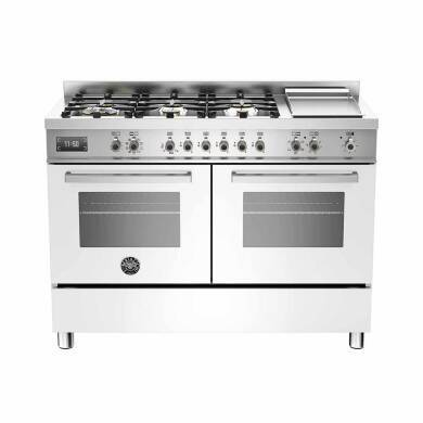 Bertazzoni Professional 120cm Dual Fuel 6 Burner Range Cooker (2 Ovens) - Gloss White (Bianco)