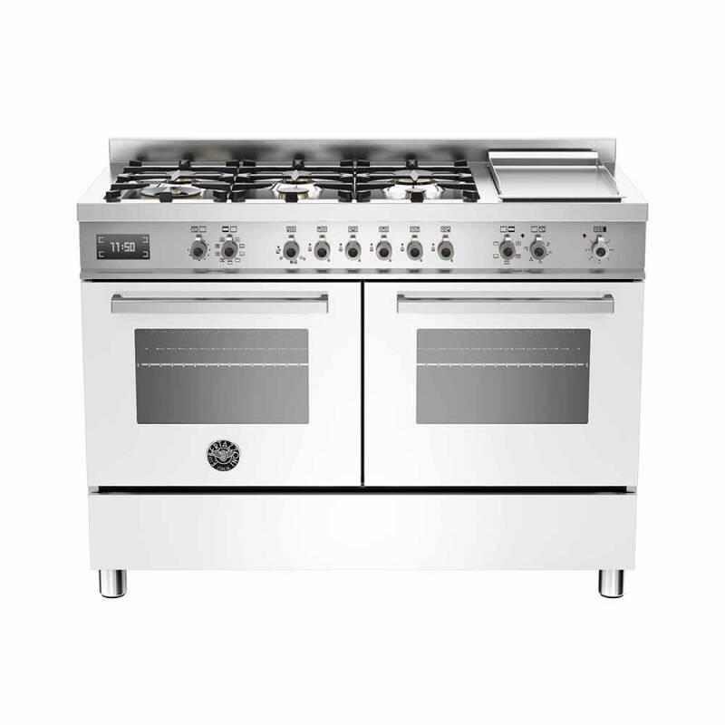 Bertazzoni Professional 120cm Dual Fuel 6 Burner Range Cooker (2 Ovens) - Gloss White (Bianco) primary image