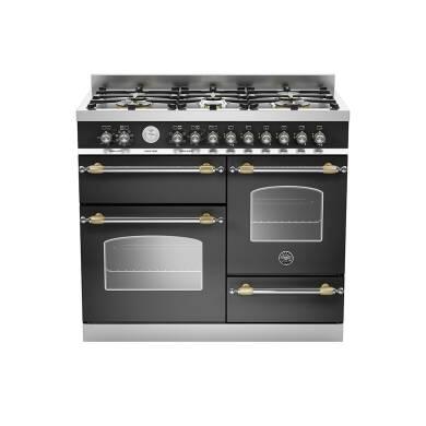 Bertazzoni XG Heritage 100cm Dual Fuel 6 Burner Range Cooker (2 Ovens) - Matt Black (Nero)