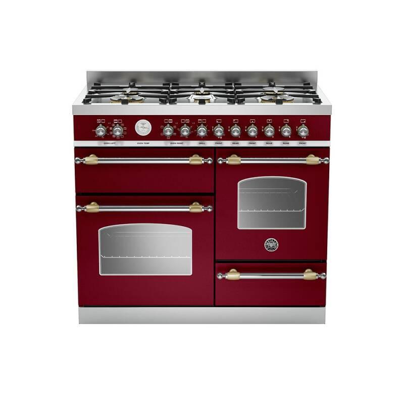 Bertazzoni XG Heritage 100cm Dual Fuel 6 Burner Range Cooker (2 Ovens) - Matt Burgundy (Vino) primary image