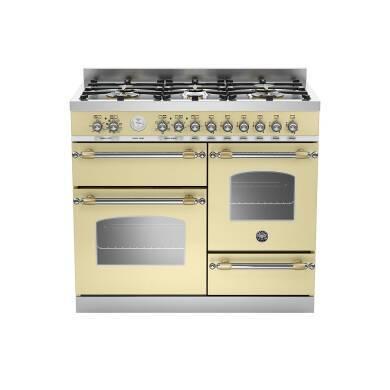 Bertazzoni XG Heritage 100cm Dual Fuel 6 Burner Range Cooker (2 Ovens) - Matt Cream (Crema)