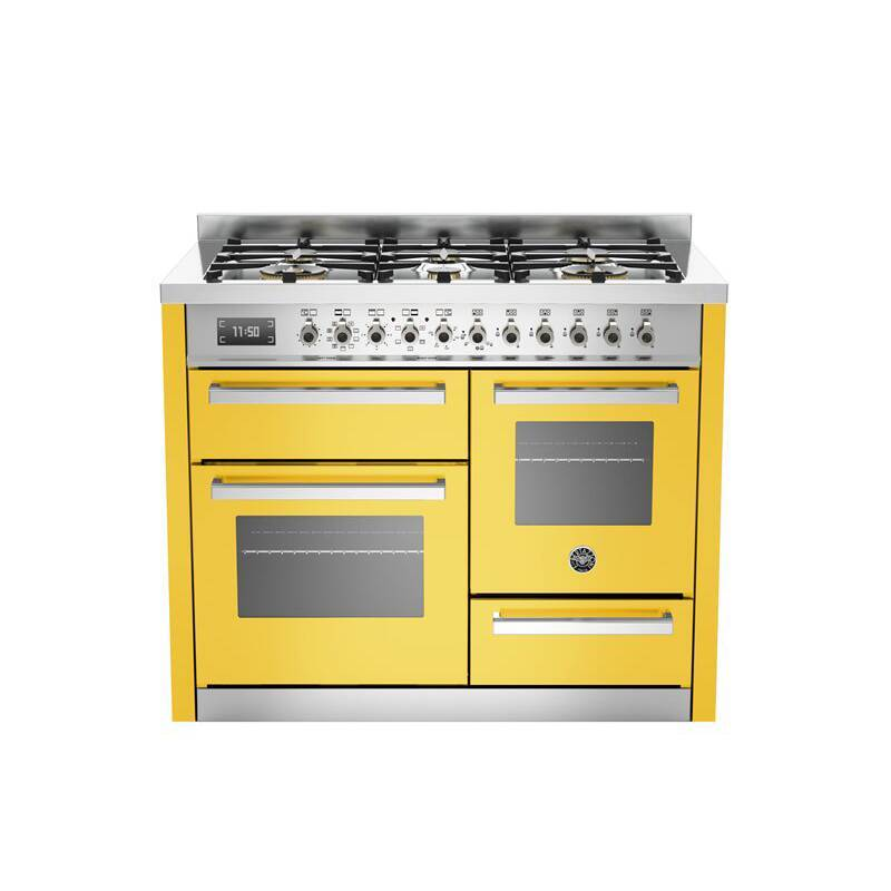 Bertazzoni XG Professional 110cm Dual Fuel 6 Burner Range Cooker (2 Ovens) - Gloss Yellow (Giallo) primary image