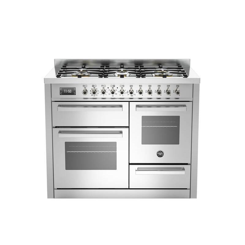 Bertazzoni XG Professional 110cm Dual Fuel 6 Burner Range Cooker (2 Ovens) - Stainless Steel primary image