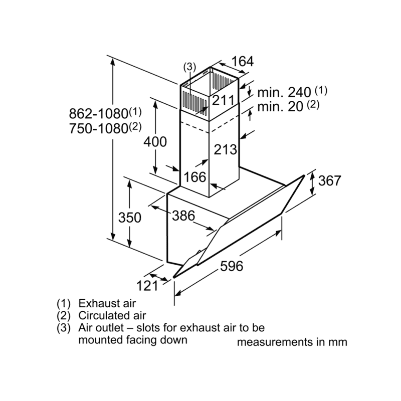 Bosch H1770xW596xD386 Angled Chimney Extractor additional image 1