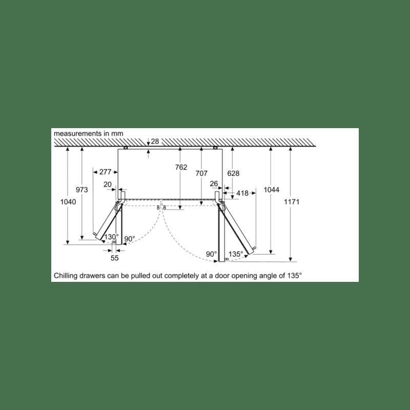 Bosch H1787xW908xD707 Side by Side Fridge Freezer Frost Free additional image 6