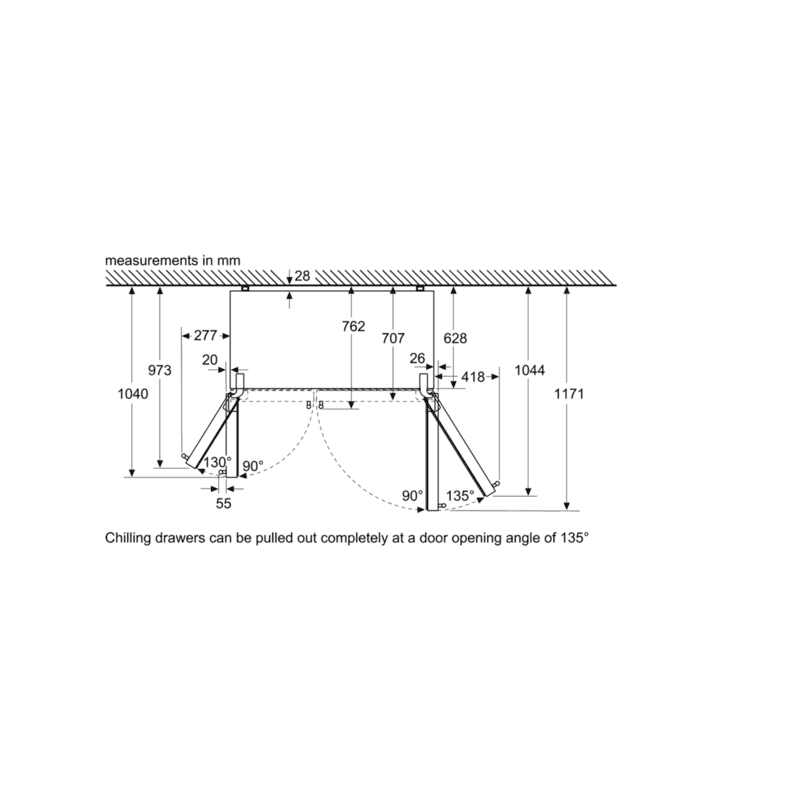 Bosch H1787xW908xD707 Side by Side Fridge Freezer Frost Free additional image 8