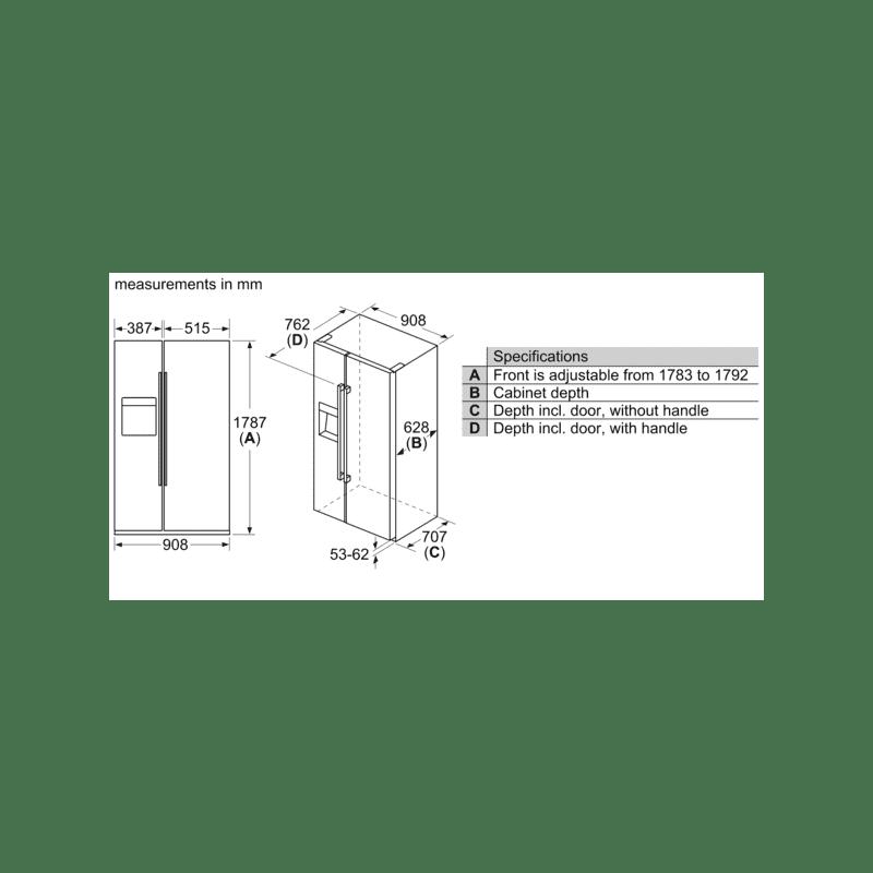 Bosch H1787xW908xD707 Side by Side Fridge Freezer Frost Free additional image 4