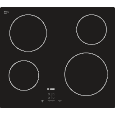 Bosch H45xW592xD522 Ceramic 4 Burner Hob - Black