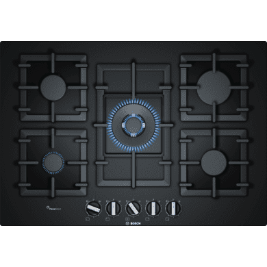 Bosch H45xW752xD520 Gas on Glass 5 Burner Hob With Flameselect