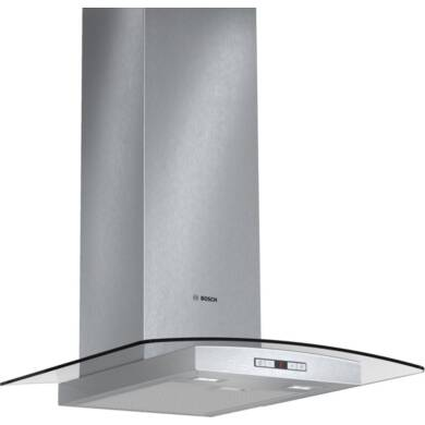 Bosch H638xW600xD540 Chimney Cooker Hood - Stainless Steel and Curved Glass