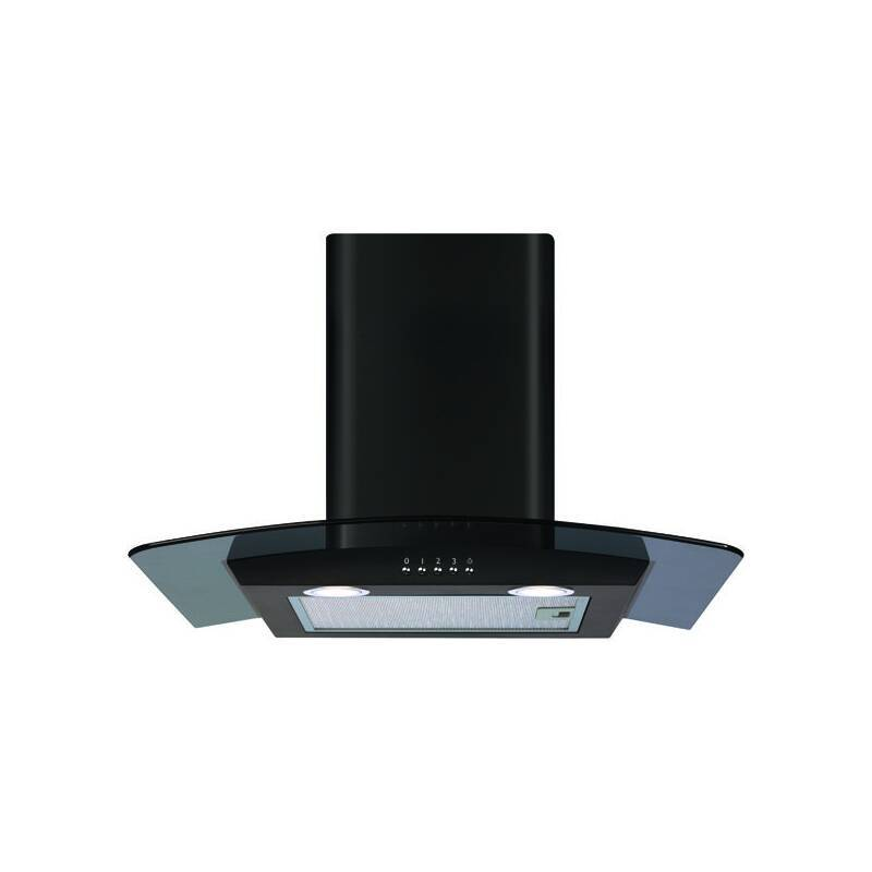 CDA H1020xW600xD500 Chimney Cooker Hood - Black Curved Glass primary image