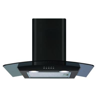 CDA H1020xW600xD500 Curved Glass Chimney Cooker Hood - Black