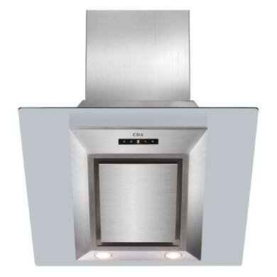 CDA H1360xW600xD340 Angled Glass Chimney Cooker Hood - Stainless Steel