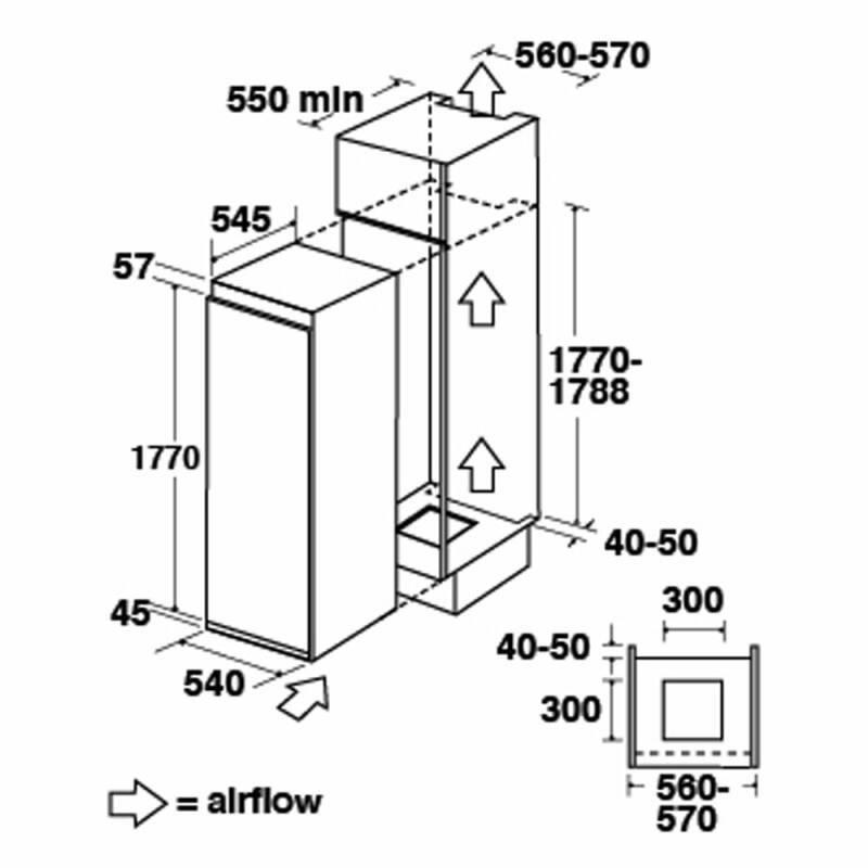 CDA H1778xW540xD545 Integrated Tower Freezer additional image 1