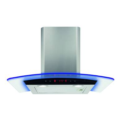 CDA H440xW600xD490 Curved Glass Chimney Hood - Stainless Steel