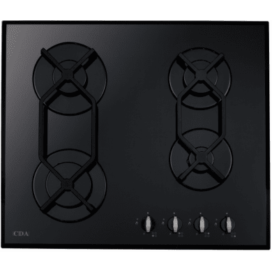 CDA H44xW595xD515 Gas-on-Glass 4 Burner Hob - Black Glass