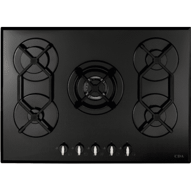CDA H44xW700xD515 Gas-on-Glass 5 Burner Hob - Black Glass