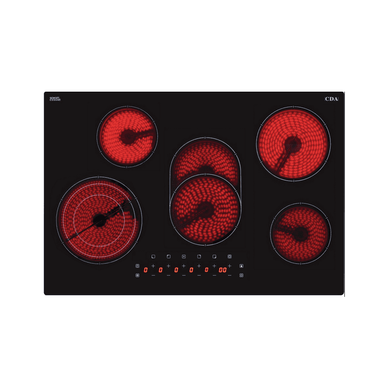 CDA H48xW770xD518 5 Zone Ceramic Hob - Black primary image