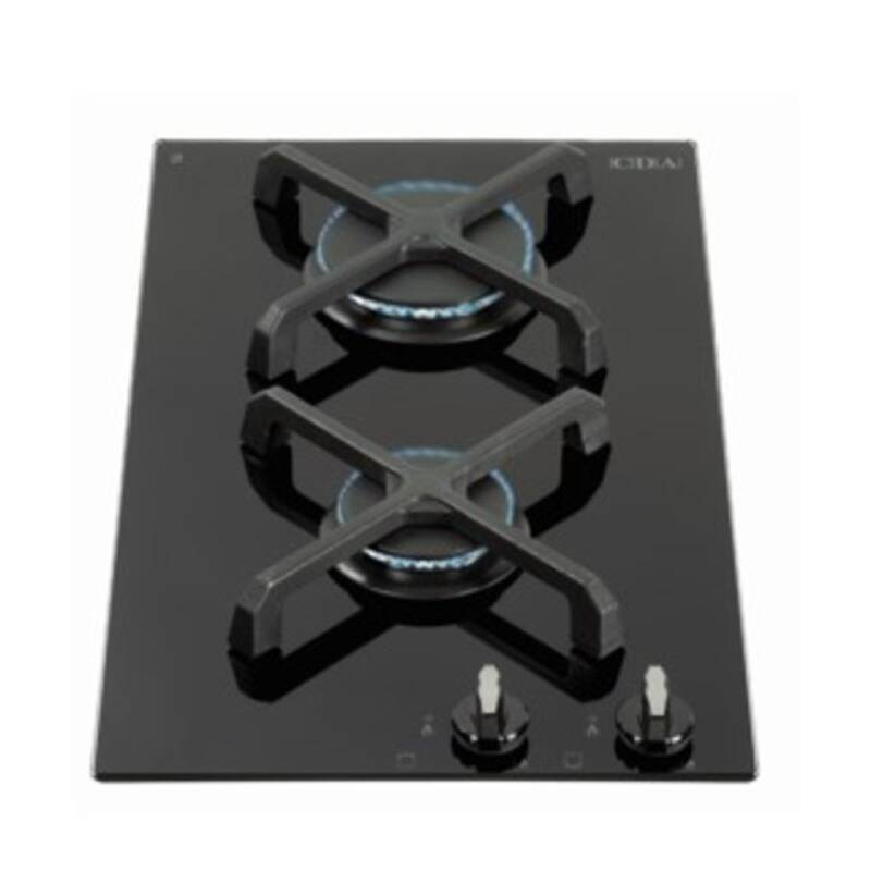 CDA H52xW300xD510 Gas-on-Glass 2 Burner Hob - Black Glass primary image