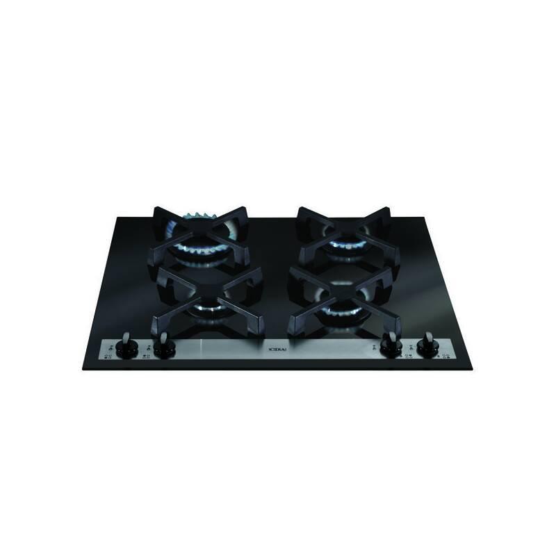 CDA H52xW585xD510 Gas-on-Glass 4 Burner Hob - Black Glass primary image