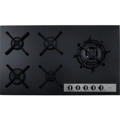 CDA H52xW869xD510 Gas-on-Glass 5 Burner Hob - Black Glass