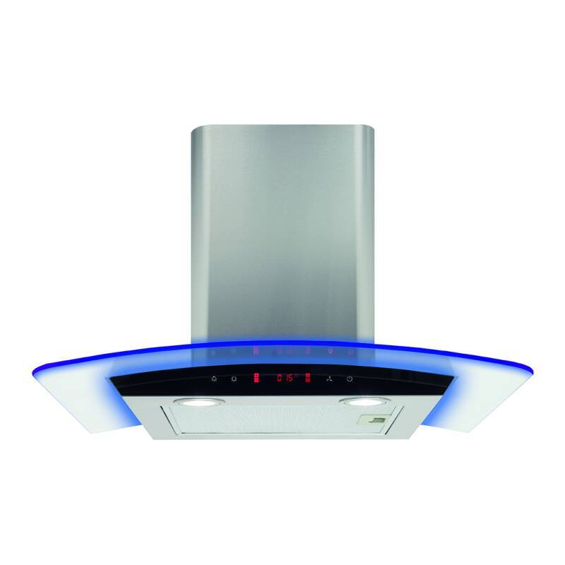 CDA H540xW600xD490 Curved Lit Glass Chimney Hood - Stainless Steel primary image